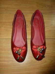 Luna maroon red faux patent ballet pumps with zip trim size 7
