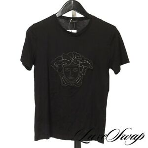 Versace Made in Italy Black Sateen Silver Studded Puffed Medusa Tee Shirt XS NR