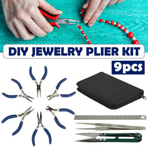 9pcs Jewellery Making Findings Beads Mini Pliers Craft Tool Set Wire Cutters Kit