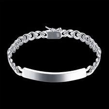925 Silver Women Men Jewelry Cuff Charm Bangle Chain Pendant Bracelet Gift HOT