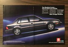 1986 DODGE SHADOW Print Ad Excellent Color 2 Pages  (PH1)