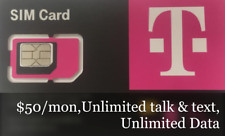 T-Mobile Prepaid Sim Card $50 Plan,Unlimited Talk & text, Data. 2months Include.