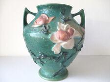 "Vintage ROSEVILLE Pottery Vase 9"" Tall Green Magnolia & Buds #92-8"