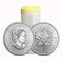 Roll of 25 - 2019 1 oz Canadian Silver Maple Leaf .9999 Fine $5 Coin BU