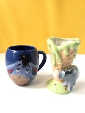 Eeyore mug & Eeyore Ice Cream Sundae cone holder. Disney collectables bundle VGC