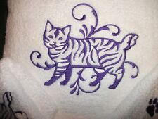 American Bobtail/ Manx Cat Design, 3 Pc Set, White True Color Brand Towels