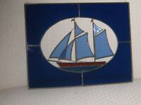 Nautical Theme Leaded Stained Glass window panel.with 3-D  bevels !