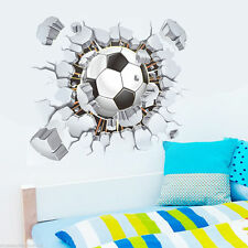 Home Room Wall Decor 3D Football Wall Stickers Vinyl Art Mural Decal Kid Bedroom