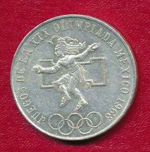 MEXICO 1968 25 PESOS OLYMPIC COMMEMORATIVE SILVER COIN **LIGHTLY CIRCULATED**