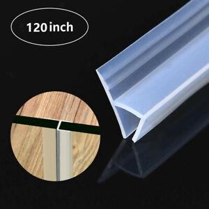 120'' Shower Door Seal 3/8''Glass Strip Silicone House Door Bottom Sweep Stopper