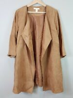 [ H&M ] Womens Faux Suede Tan Trench Jacket / Coat | Size AU 14 or US 10