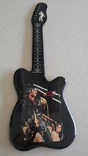 Vintage Elvis Presley Guitar Shape Wood Lacquered Wall Art Clock Brand New