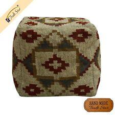 Authentic Hand Woven Kilim Jute Pouf Cover Antique Vintage Footstool Pouffe case
