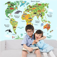 Kids Animal Map Of The World Educational Wall Sticker Decal For Kids Room Decor