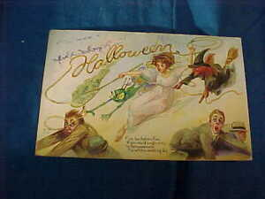 Early 20thc HALLOWEEN POSTCARD Flee BACHELORS Flee Its WITCHES WEDDING DAY