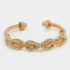 LUXE  Celeb Crystal Infinity Twisted Gold Cuff Bangle Bracelet by Rocks Boutique