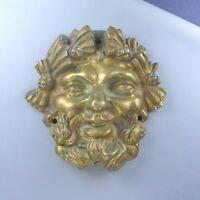 Antique French Gilded Bronze Bacchus Furniture Pediment Ornament Decoration