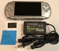 SILVER Sony PSP 3000 System w/ Charger & Memory Card Bundle TESTED WORKS Import