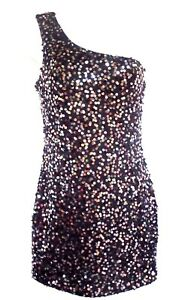 FOREVER 21 Sequin Dress JR S/P Black One Shoulder Stretch Body con Fit Sparkly