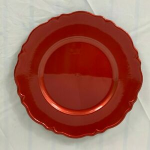 NWT Threshold Red Charger Plate 12.5 Inch Shiny Scalloped Edge Plastic
