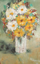 1994 Impressionist oil painting still life with flower signed