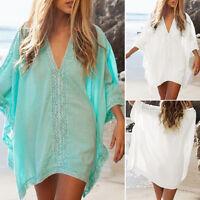 Womens Swimwear Bikini Beach Wear Cover Up Kaftan Ladies Summer TOPS White NEW