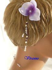 Pic chignon orchidée violet et ivoire, accessoire coiffure.