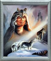 Native American Indian Chief & Wolves Wall Decor Silver Picture Framed Picture