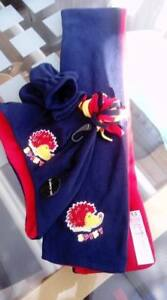 Scarf. Hat & Mittens 1 - 3 Years. Boys Fleecy Set Navy Red Spiky the Hedgehog