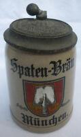 BRAUEREI BIERKRUG 0,4 L STEINZEUG SPATEN BRÄU MÜNCHEN mit Zinndeckel vor 1945
