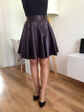 Women Faux Leather Skater Dress Skirt