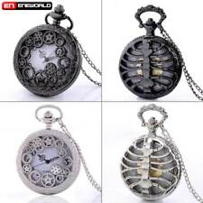 Vintage Steampunk Gear Rib Pocket Watch Quartz Hollow Necklace Chain Gift Retro