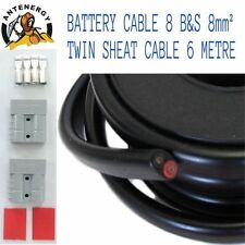 6 METRE BATTERY CABLE 8 B&S  8mm² 8mm2 TWIN SHEATH CABLE 2X ANDERSON PLUGS