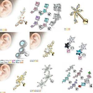 Fancy CZ 16g Cartilage Upper Ear Stud Earring Helix Bar - Choose Design & Colour