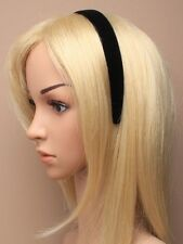 Black Flock Padded Headband 2.5cm Wide Soft Velour Nap Velvet School Hairband