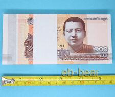100 Pcs Cambodia 100 Riel Paper Money UNC Banknotes Collection Asia Full Bundle