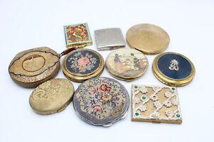 10 x Assorted Vintage Ladies Vanity COMPACTS Inc Clover, Princess, Yardley Etc