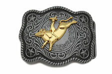 New Men Belt Buckle Dark Silver Metal Cowboy Western 3D Rodeo Bull Riding Gold