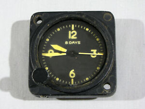 Old WALTHAM AIRCRAFT CLOCK - FOR RESTORATION - NOT RUNNING - YELLOW NUMBERS