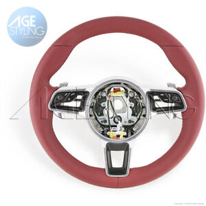 OEM Porsche 991 GT3 RS Cayman 718 Boxster Bordeaux Red Leather Steering Wheel