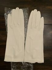 Vintage White Kid Skin Leather Gloves Size 7 Pearl Button Wrist