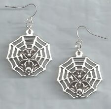 Spider in Web with Mouse Skull earrings-silver metal charms, drop/dangle/hook