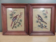 A Pair Of Vintage Bird Needlepoint Pictures Framed Under Glass