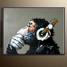 Modern Abstract Animal Oil Painting On Canvas Hand Painted Wall Art Pensive