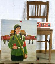 ALTES ÖLGEMÄLDE CHINA SOLDAT ROTE ARMEE VERBOTENE STADT MAO ZEDONG 故宫 毛主席语录 毛澤東