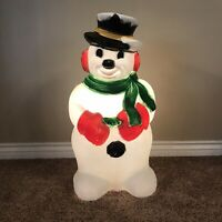"Vintage 32"" Lighted Snowman Blow Mold General Foam Plastics Christmas Yard Decor"
