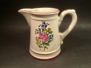 French Faience Reverbere Fin Floral Pitcher