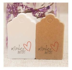 Rectangle Card Craft Tags Made With Love Heart Gift Food Jewellery Tag 5x3cm