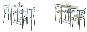 Modern Dining Breakfast Table 2 Chairs Oak White Gloss