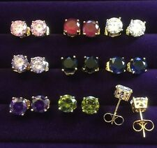 Plum UK 4pin YELLOW GOLD Filled Stud Earrings 7mm Round CZ Sapphires Gift Boxed